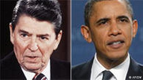 A picture of Ronald Reagan next to a picture of Barack Obama (AP/DW)
