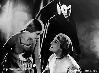 A scene from the Faust legend from a 1920s silent film