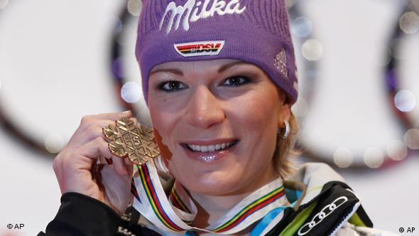 Bronze medal winner Maria Riesch, of Germany, poses during the medal ceremony at the Alpine World Skiing Championships in Garmisch-Partenkirchen, Germany, Tuesday, Feb. 8, 2011. (AP Photo/Matthias Schrader)