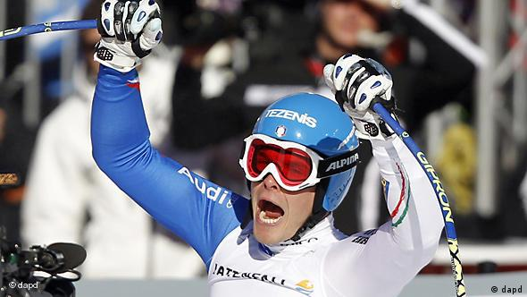 Christof Innerhofer of Italy celebrates after crossing the finish line during the men's super-G, at the Alpine World Skiing Championships in Garmisch-Partenkirchen, Germany, Wednesday, Feb. 9, 2011. (AP Photo/Matthias Schrader)