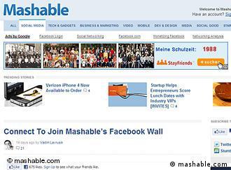 خبر پروژهی ثبت عکس کاربران فیس بوک روی دیوار در سایت mashable