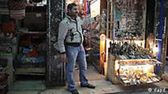 An Egyptian salesman in front of his souvenir shop in Cairo