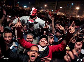 Egyptians celebrate the the resignation of President Mubarak
