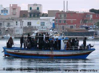 People on a boat off Lampedusa