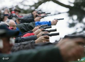 Sport shooters take aim at a shooting event in Switzerland