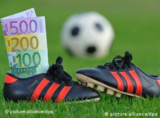 Soccer ball, shoes and a pile of cash