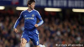Chelsea's Fernando Torres controls the ball during the English Premier League soccer match between FC Chelsea and FC Liverpool