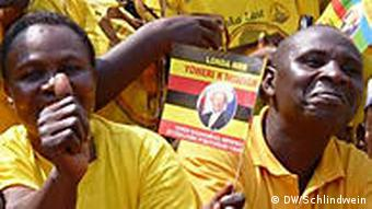 Yellow-shirted Museveni supporters in Uganda