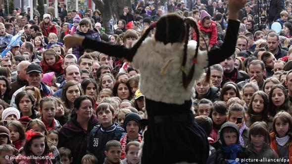 Crowds of Kosovo Albanians
