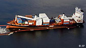 An aerial view of the container ship Godafoss after it went aground
