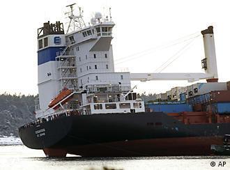 The Godafoss, stranded at sea