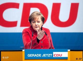 Merkel at a CDU rally in Hamburg on February 17