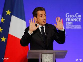French President Nicolas Sarkozy delivers his speech during the opening of the G20 Finance summit at the Elysee Palace in Paris, Friday, Feb. 18, 2011. Finance chiefs from the world's 20 industrialized and fastest developing nations wrestle over how to steady the world economy at a two-days meeting in Paris. (AP Photo/Francois Mori)