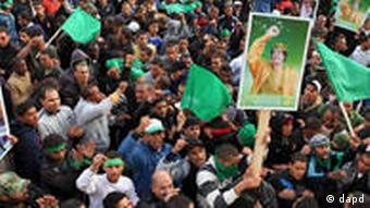 Pro-Gadhafi supporters gather in Tripoli