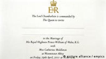 wedding invitation for William and Kate