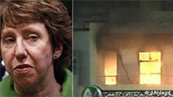 Bildkombo Unruhen in Lybien EU Außenministerin Catherine Ashton