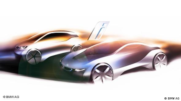 A design sketch of the BMW i3 and BMW i8