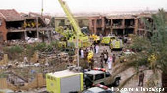 The partially destroyed headquarters building of the general security services in Riyadh