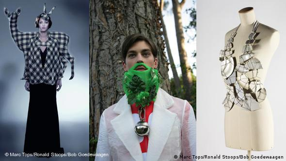 Von links: Christophe Coppens, Deer Cape, Dream Your Dream collection, Winter 2005 (Foto/photo: Marc Tops, Walter van Beirendonck, Green Beard, eXplicit Collection Spring/summer 2009, Foto/photo: Ronald Stoops, Maison Martin Margiela, Gilet en porceleine, Autumn/winter 1989/90/ Montage DW)