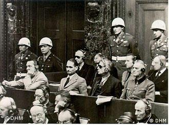 Nazis in the dock at the Nuremburg Trials