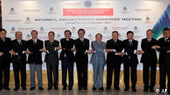 Southeast Asian foreign ministers and senior officials,pose for a group shot during Informal ASEAN Foreign Ministers Meeting in Jakarta, Indonesia