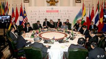 Foreign ministers of ASEAN countries discussing the Thai-Cambodian conflict in Jakarta
