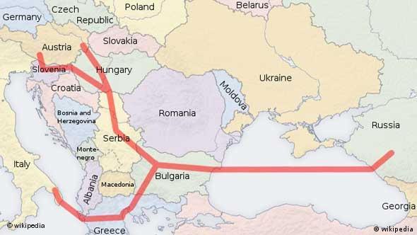 Geplanter Verlauf der Pipeline South Stream (Quelle: Wikipedia)