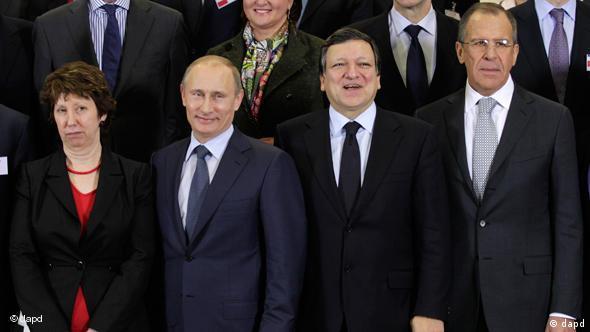 Die EU-Außenbeauftragte Ashton, Putin, Barroso und Russlands Außenminister Lawrow v.l. (Foto: AP)