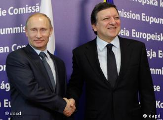 Russlands Regierungschef Putin l. mit EU-Kommissionspräsident Barroso in Brüssel (Foto: AP)