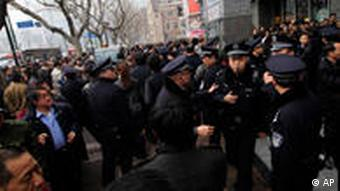 Police checking demonstrators in China
