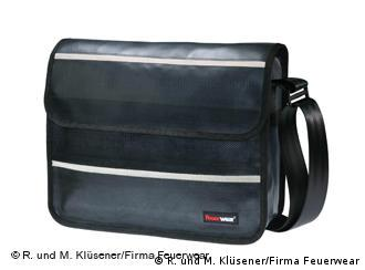 A laptop bag made from used fire hoses