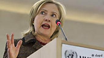 Secretary of State Hillary Clinton at the Human Rights Council in Geneva, Switzerland