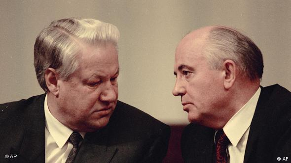 Russian leaders Mikhail Gorbachev, right, and Boris Yeltsin are seen in 1991, location unknown. (AP Photo)