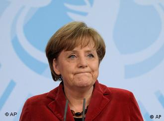 Chancellor Angela Merkel, looking a little glum
