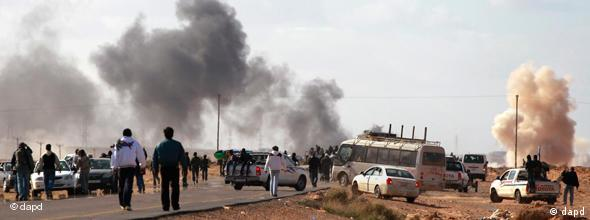 rebels under attack on road