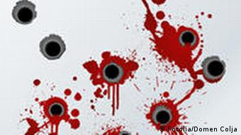 Gunshot holds and splattered blood, a symbolic image