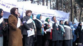 Afghan women demonstrating