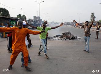 Supporters of Alassane Ouattara on the street