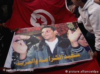 Poster showing Mohamed Bouazizi the vegetable vendor triggered the Arab revolution