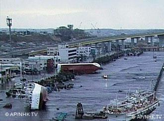 Ships on their sides in Japan after the tsunami