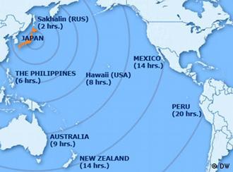 امواج سونامی پس از زلزله مارس ۲۰۱۱