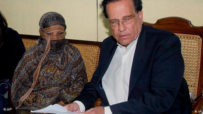 Former governor of Punjab province Salman Taseer and Asia Bibi (AP)