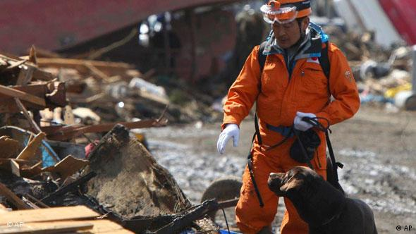 A rescuer uses a sniffer dog to look for missing persons in the rubble in Soma, Fukushima