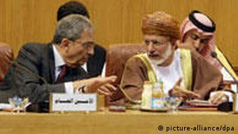 Oman's Foreign Minister Yusuf bin Alawi Abdullah and Arab League Secretary General Amr Moussa