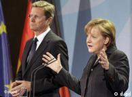 آنگلا مرکل و گیدو وستروله در کنفرانس خبری در برلین در باره فاجعه زلزله در ژاپن