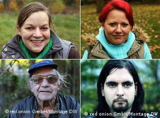 Collage of four interview partners involved in the Interview Project Germany