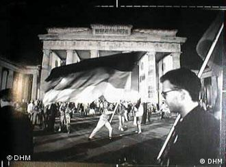 A celebration of German reunification in front of Brandenburg Gate on October 3, 1990