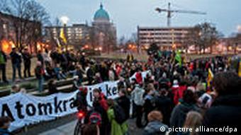 People in Potsdam protesting against nuclear power