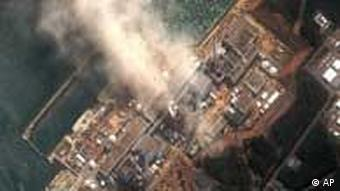 A satellite image (provided by DigitalGlobe) shows the damaged Fukushima Daiichi nuclear facility in Japan