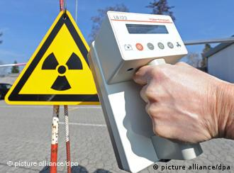 A radioactivity symbol and geiger counter